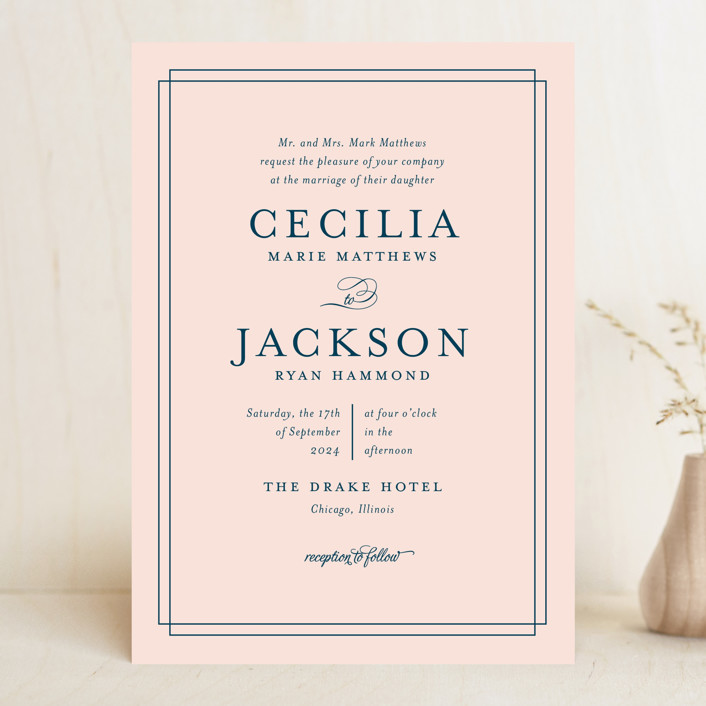 """Chic Gala"" - Classical, Traditional Wedding Invitations in Cotton Candy by Kimberly FitzSimons."