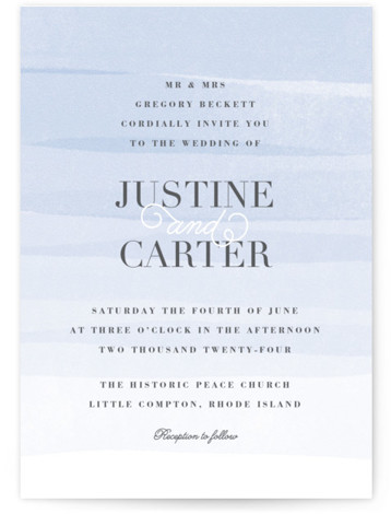 This is a portrait beach, classical, elegant, painterly, blue Wedding Invitations by Jennifer Wick called Old Post Road with Standard printing on Signature in Classic Flat Card format. Ombre painted stripes evoke the feeling of the ocean tide.