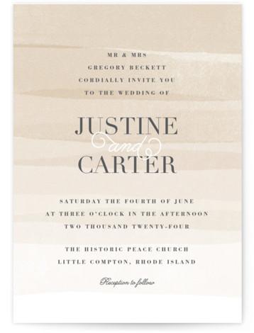 This is a portrait beach, classical, elegant, painterly, brown Wedding Invitations by Jennifer Wick called Old Post Road with Standard printing on Signature in Classic Flat Card format. Ombre painted stripes evoke the feeling of the ocean tide.