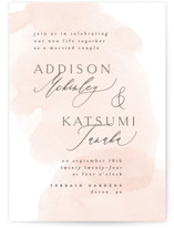 This is a orange wedding invitation by Everett Paper Goods called Softly Layered with standard printing on signature in standard.