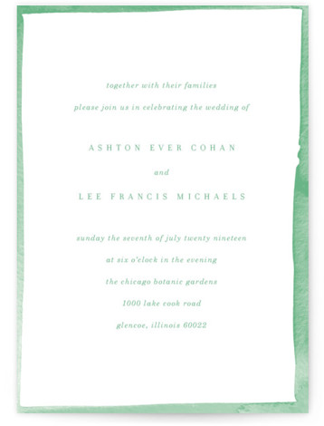 This is a portrait colorful, white, green Wedding Invitations by Baumbirdy called Watercolor Edged Border with Standard printing on Signature in Classic Flat Card format. This save the date features a simple design to help showcase your beautiful photo