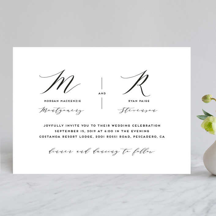 Elegant Monogram Wedding Invitations by Simona Cavallaro Minted