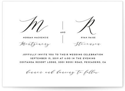 Elegant Monogram Wedding Invitations