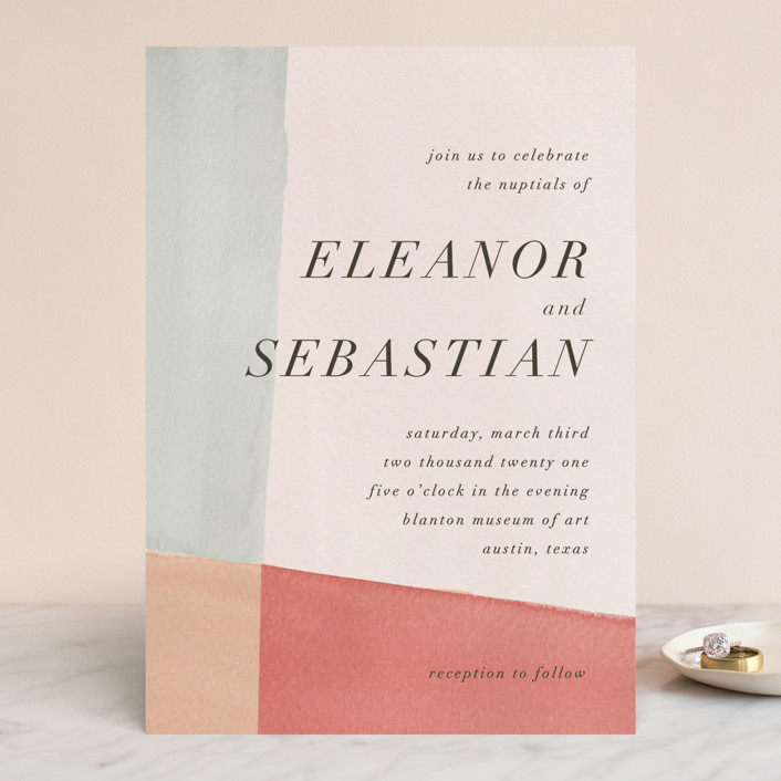"""Eleanor"" - Modern, Modern Wedding Invitations in Rose by Creative Parasol."