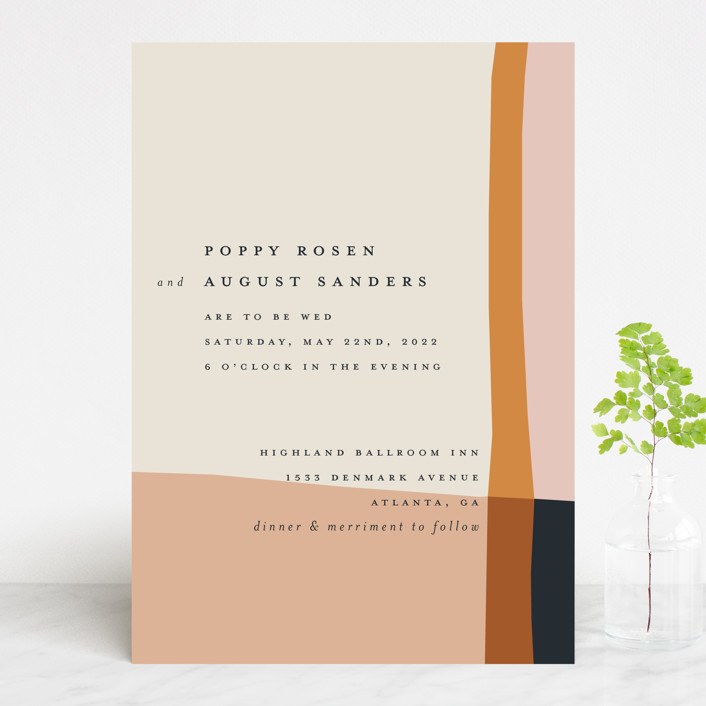 """Color Block"" - Modern Wedding Invitations in Peach by Morgan Kendall."