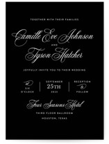 This is a black wedding invitation by Jill Means called our moment with standard printing on signature in standard.