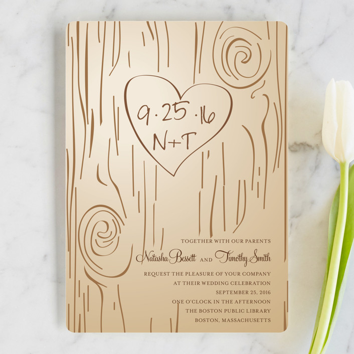 """Fall Carving"" - Rustic, Bohemian Wedding Invitations in Woodgrain by Amanda Joy."