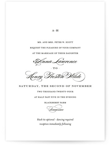 This is a landscape, portrait classic and formal, classical, elegant, floral, simple, simple and minimalist, traditional, black and white Wedding Invitations by Toast & Laurel called Field with Standard printing on Signature in Classic Flat Card format.