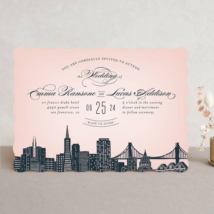 City San Francisco Wedding Invitations In Blush By Ay Creative