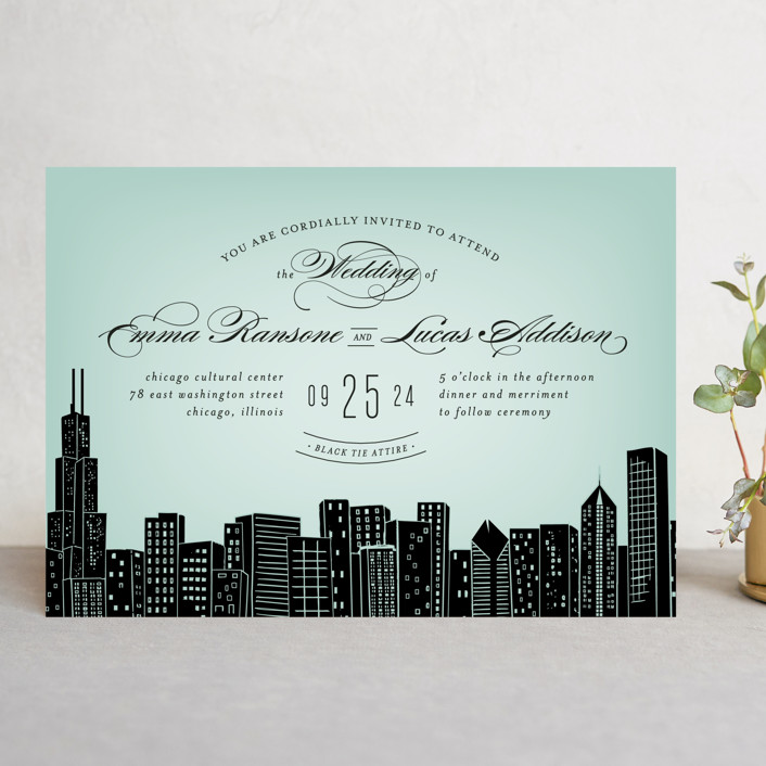 """Big City - Chicago"" - Wedding Invitations in Mint Green by Hooray Creative."