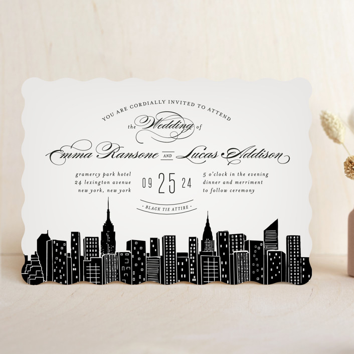 big city new york city destination modern wedding invitations in light