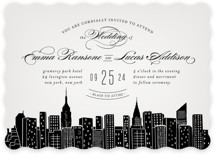 This is a grey wedding invitation by Hooray Creative called Big City - New York City with standard printing on signature in standard.