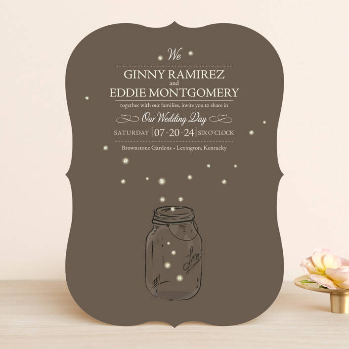 """Fireflies"" - Rustic, Hand Drawn Wedding Invitations in Zuni Brown by Paige Rothhaar."