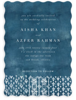 This is a blue wedding invitation by Nazia Hyder called Kantha Quilt with standard printing on signature in standard.
