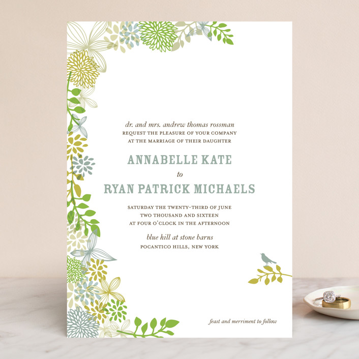 """Fling"" - Floral & Botanical, Rustic Wedding Invitations in Leaf by Andrea Mentzer."