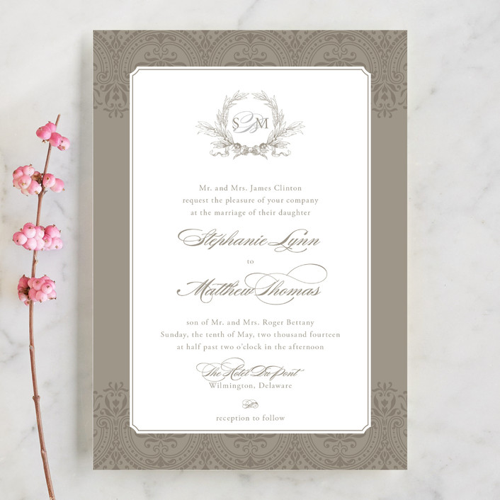 """Formalities"" - Classical Wedding Invitations in Warm grey by Milkmaid Press."