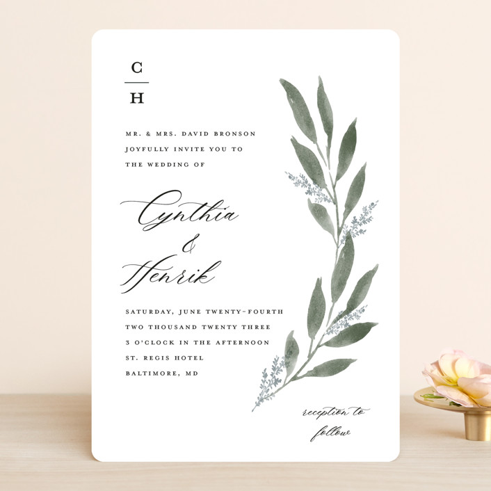 """""""Pressed Foliage"""" - Wedding Invitations in Heather by Stacey Meacham."""