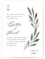 This is a white wedding invitation by Stacey Meacham called Pressed Foliage with standard printing on signature in standard.