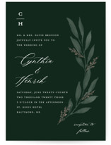 This is a green wedding invitation by Stacey Meacham called Pressed Foliage with standard printing on signature in standard.
