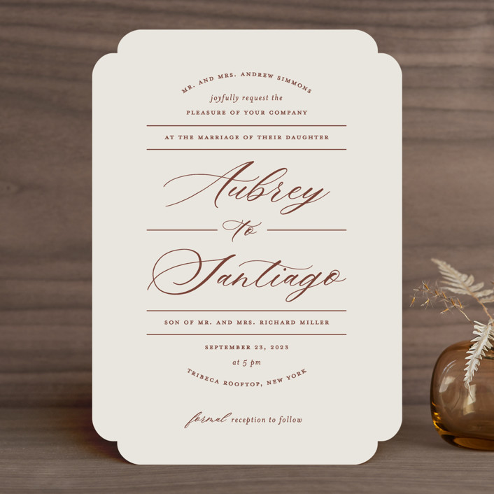 """Streamlined"" - Wedding Invitations in Nutmeg by Nicole Barreto."
