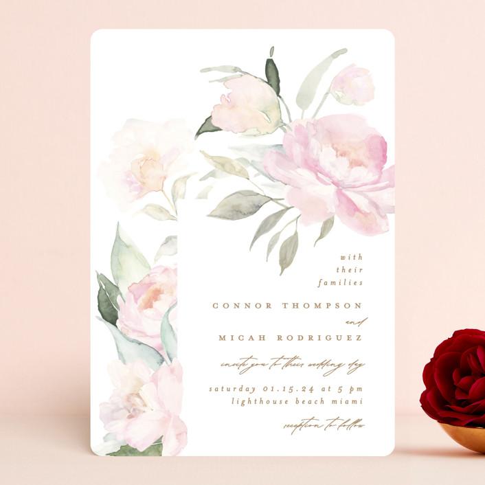 """beautiful peonies"" - Wedding Invitations in Spring by Phrosne Ras."