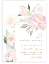 This is a white wedding invitation by Phrosne Ras called beautiful peonies with standard printing on signature in standard.