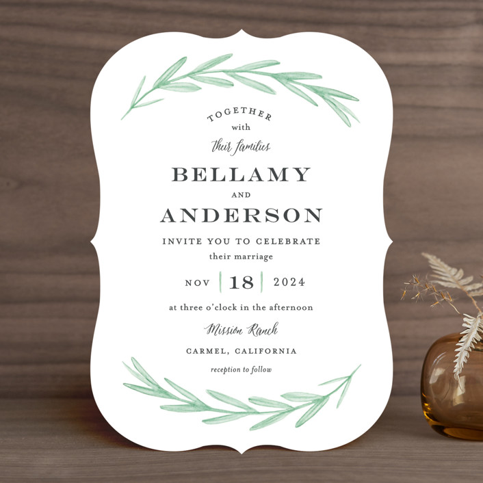 """Painted Leaves"" - Wedding Invitations in Evergreen by Olivia Raufman."