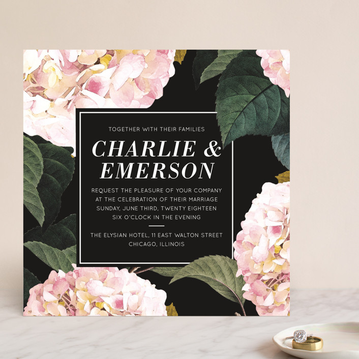 """""""Peonie Party"""" - Floral & Botanical Wedding Invitations in Noir by Baumbirdy."""