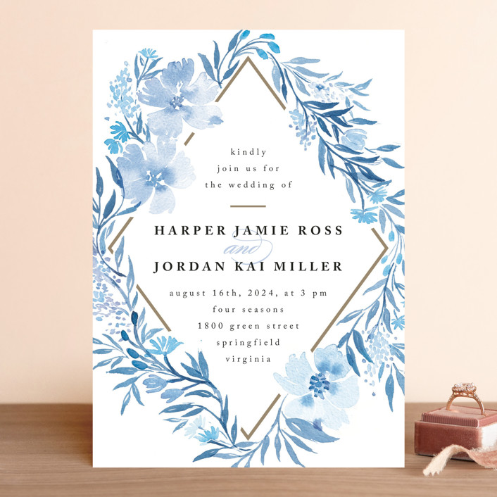 """Poetic Blue"" - Floral & Botanical Wedding Invitations in Sky by Qing Ji."