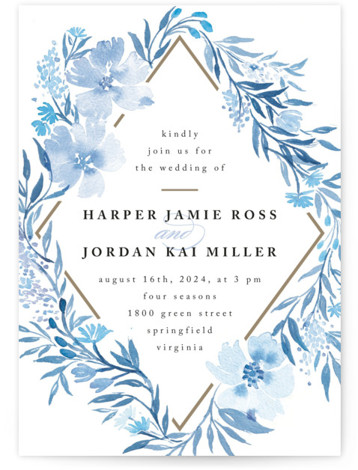 This is a blue wedding invitation by Qing Ji called Poetic Blue with standard printing on signature in standard.