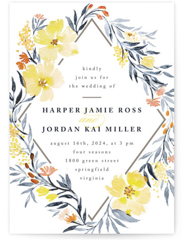 This is a portrait botanical, floral, yellow, orange Wedding Invitations by Qing Ji called Poetic Blue with Standard printing on Signature in Classic Flat Card format. This beautiful and modern design features hand painted watercolor flowers in various shades of ...