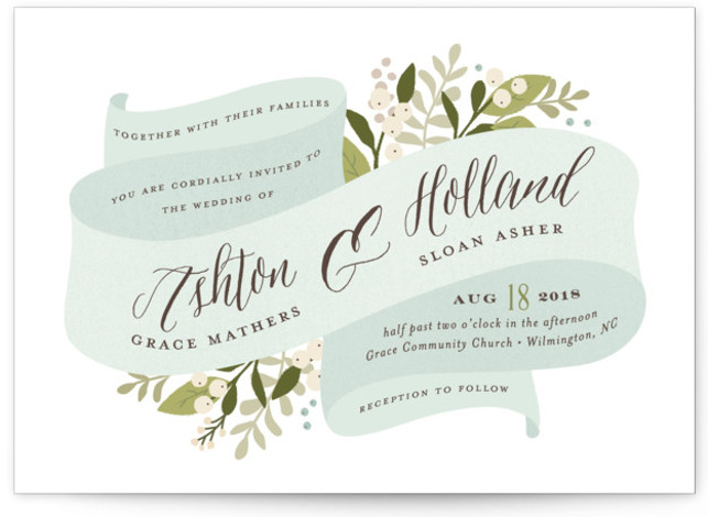 This is a landscape botanical, floral, rustic, blue Wedding Invitations by Jennifer Wick called Ribbonly with Standard printing on Signature in Classic Flat Card format. A soft ribbon beautifully folded housing all the couple's wedding details and beautiful greens.
