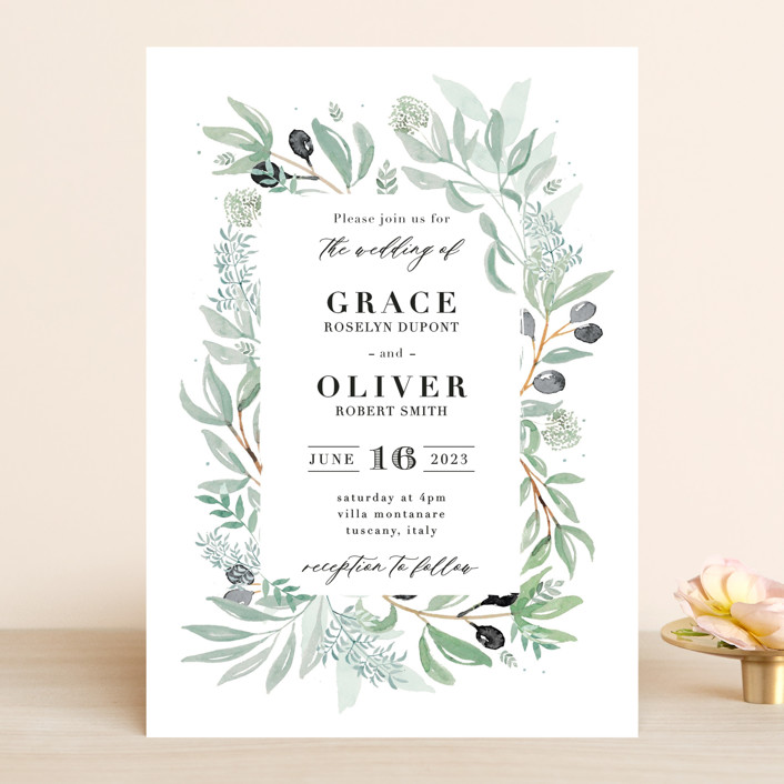 """Olivier"" - Wedding Invitations in Olive by Bonjour Paper."