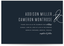 This is a blue wedding invitation by Ink and Letter called Swoop with standard printing on signature in standard.