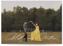 This is a white wedding invitation by Anna Elder called Cielo with standard printing on museum board in standard.
