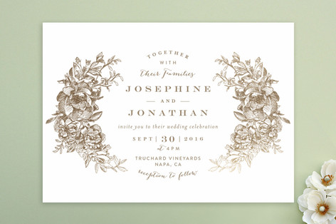Engraved Flowers Wedding Invitations