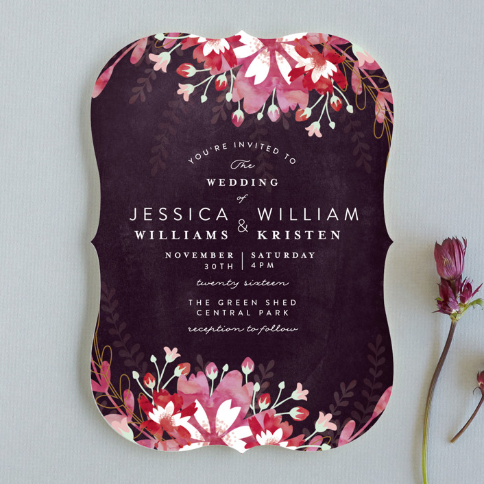 """Enchanting Plum"" - Floral & Botanical Wedding Invitations in Deep Plum by Phrosne Ras."