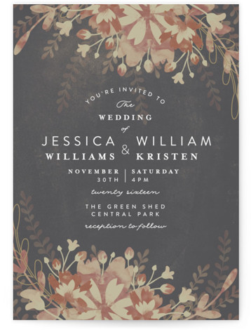 This is a portrait botanical, floral, grey Wedding Invitations by Phrosne Ras called Enchanting Plum with Standard printing on Signature in Classic Flat Card format. A beautiful Floral design in rich plum colors