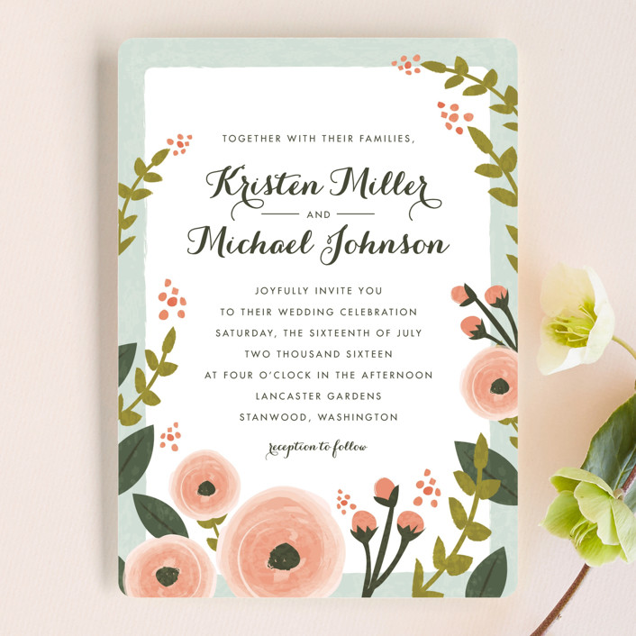 English Floral Garden Wedding Invitations By Karidy Walker
