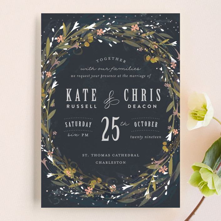 """Floral Crown"" - Rustic Wedding Invitations in Navy by Lori Wemple."