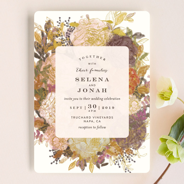 Fl Feast Wedding Invitations In Gold Leaf By Phrosne