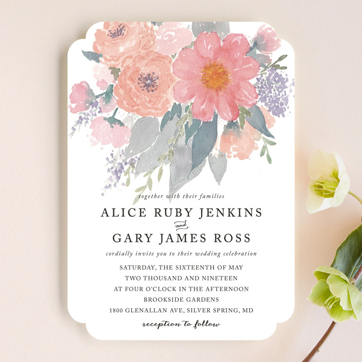 """fresh watercolor floral"" - Floral & Botanical, Hand Drawn Wedding Invitations in Peach by Qing Ji."