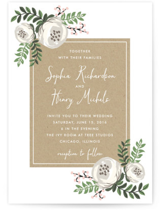 Krafted Florals Wedding Invitations