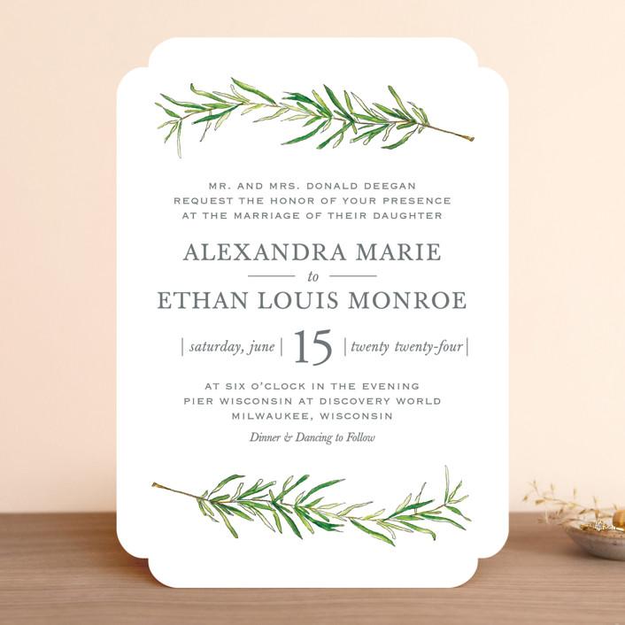 """Simple Sprigs"" - Rustic Wedding Invitations in Fern by Erin Deegan."