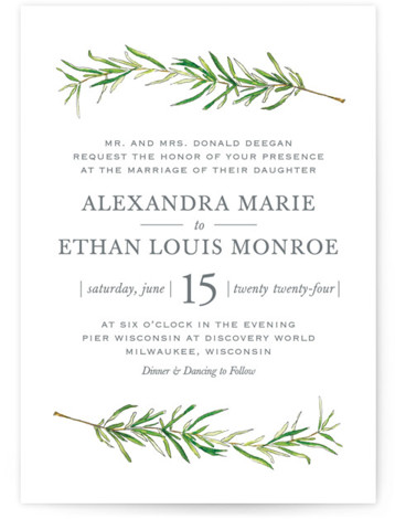 This is a portrait botanical, illustrative, rustic, green Wedding Invitations by Erin Deegan called Simple Sprigs with Standard printing on Signature in Classic Flat Card format. Simple and traditional wedding invitation featuring sprigs of rosemary.