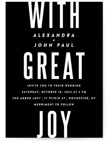 """This is a portrait bold and typographic, black Wedding Invitations by Up Up Creative called With Great Joy with Standard printing on Signature in Classic Flat Card format. A cool, simple wedding invitation design featuring the phrase """"with great joy"""" ..."""