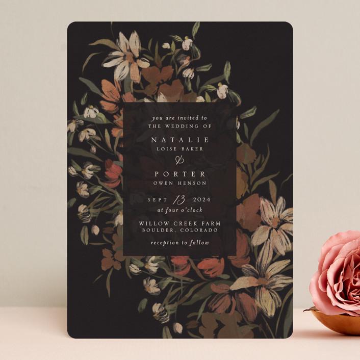 """Fall Garden Bouquet"" - Wedding Invitations in Rust by Grace Kreinbrink."