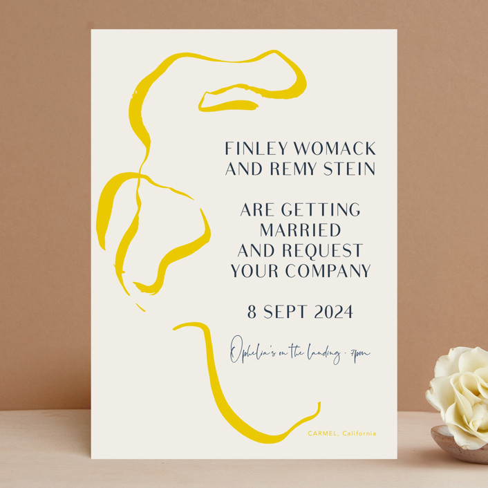 """""""Ophelia"""" - Modern Wedding Invitations in Golden by Mere Paper."""