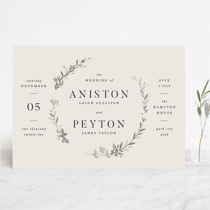 """Encircled Wreath"" - Wedding Invitations in Fog by Robert and Stella."