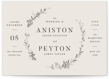 This is a beige wedding invitation by Robert and Stella called Encircled Wreath with standard printing on signature in standard.